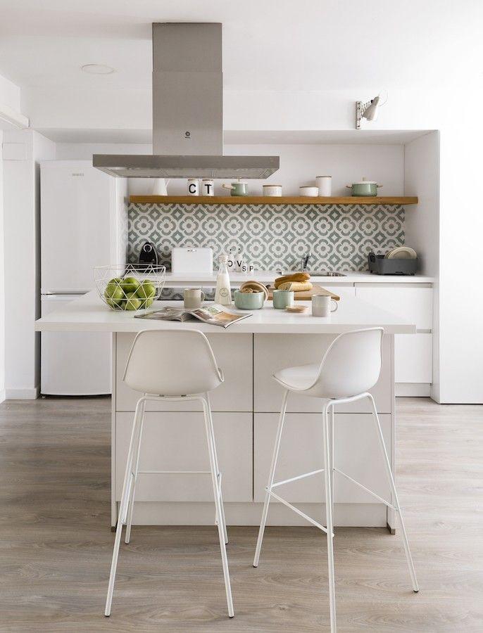 Taburete de pl stico y metal blanco lisa kenay home - Taburete barra cocina ...