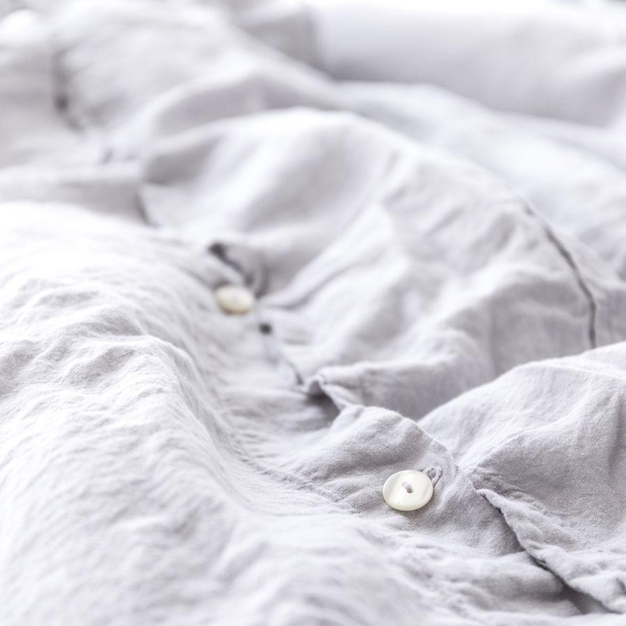 Linho capa de edredão cinzenta clara