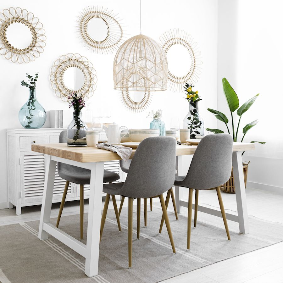 en.casa] Set de comedor moderno mesa blanca [140 x 90] + 6 sillas ...