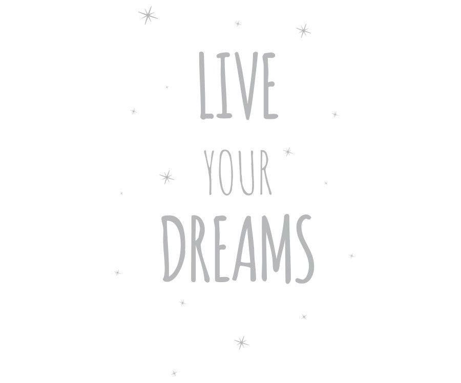 Live your dreams vinilo gris claro 50X70