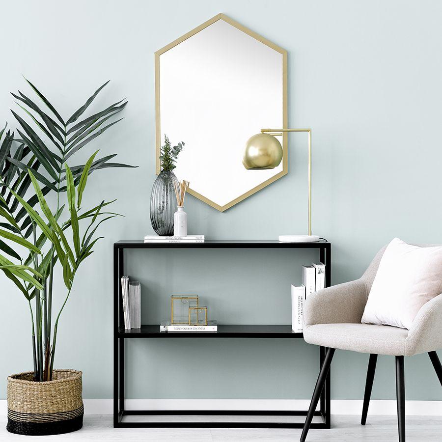 Hexagon espejo dorado