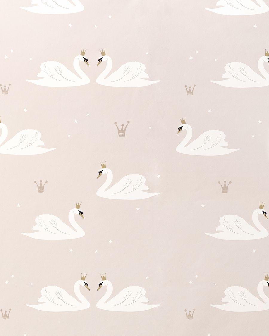 Swans wallpaper rosa