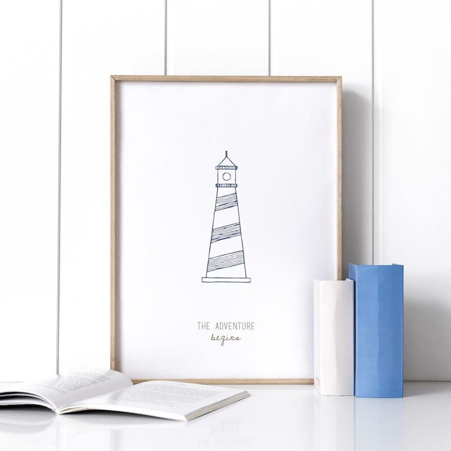 Navy lighthouse stampa