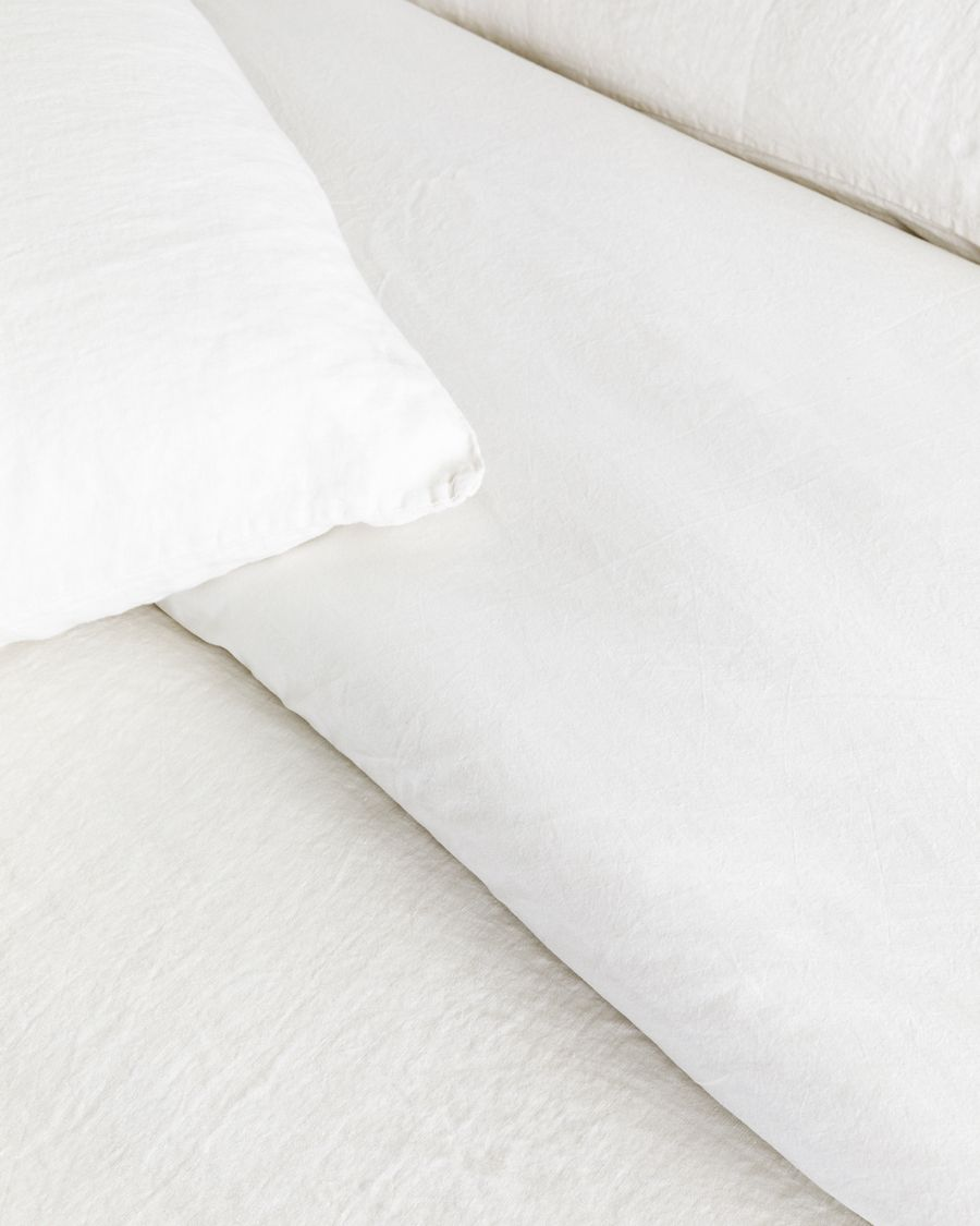 Lino copripiumino bianco pietra