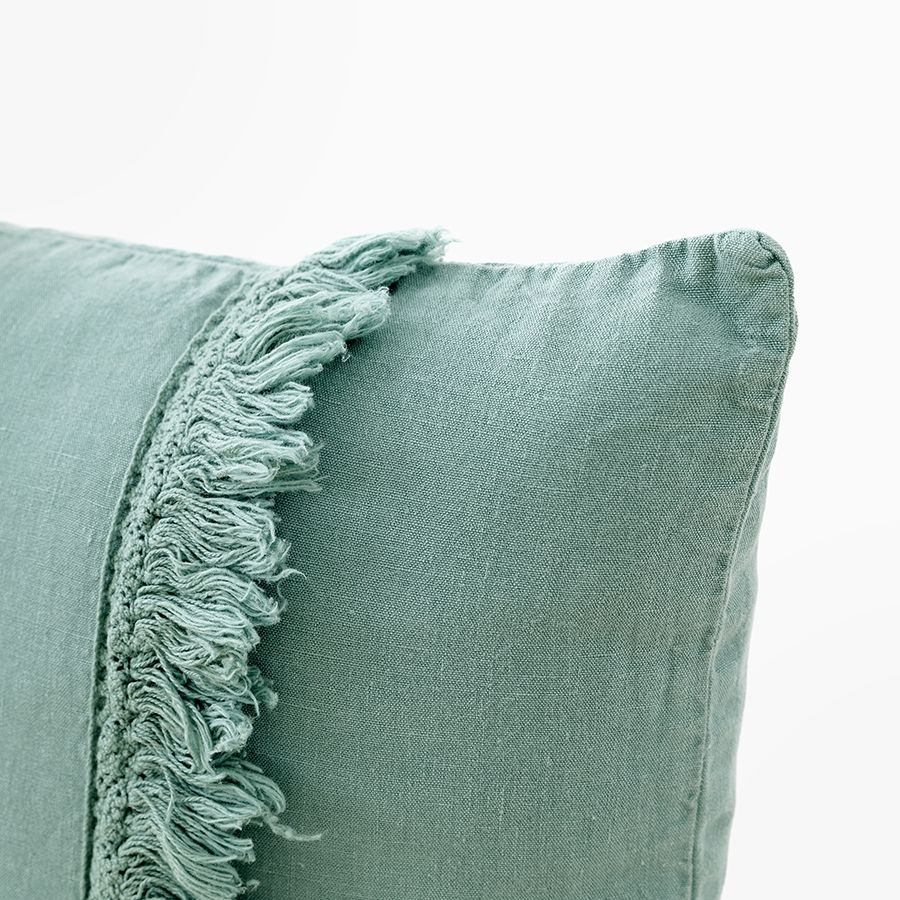 Aline cuscino 45x45 mineral blue frange - Kenay Home